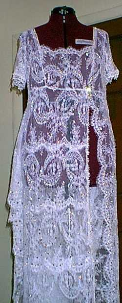 Full Length View of Just Beaded Lace overlay